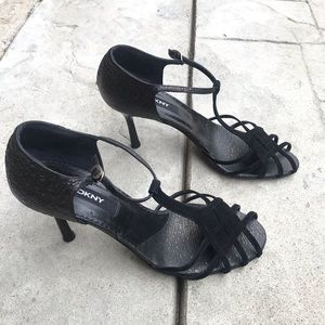 DKNY Black Strappy Heels Pump shoes size 8